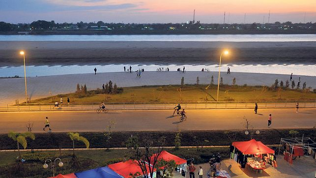 Strassenszene in Vientiane. Die laotische Hauptstadt war Schauplatz einer rätselhaften Entführung.