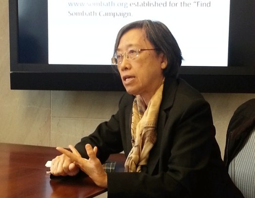 Sombath's wife Ng Shui Meng speaking in Washington, April 29, 2014. (RFA)